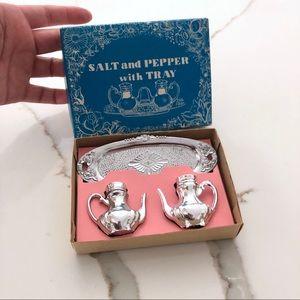 Mini Tea Set Salt & Pepper Shakers in Box